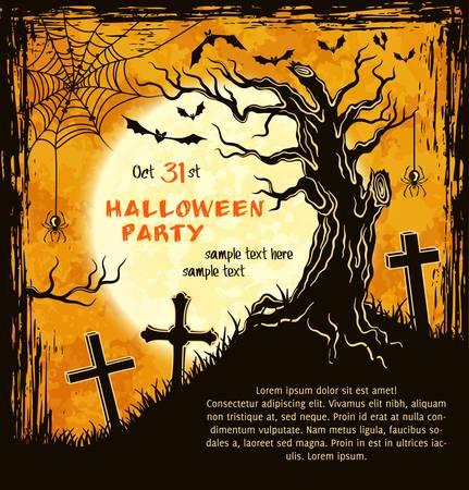 clumsy: Scheda Spooky per Halloween. Sfondo arancione con albero goffo, luna piena, lapidi e pipistrelli. Illustrazione vettoriale.