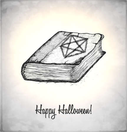 Witches book with spells in a sketch style. Hand-drawn card for Halloween. Vector illustration. Stock Vector - 22100210