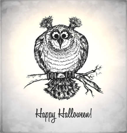 Frightened owl in a sketch style. Hand-drawn card for Halloween. Vector illustration. Stock Vector - 22100209