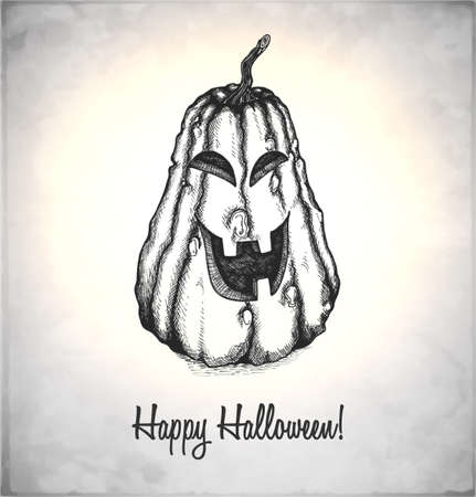 Scary Jack O Lantern. Pumpkin in a sketch style. Hand-drawn card for Halloween. Vector illustration. Stock Vector - 22100212