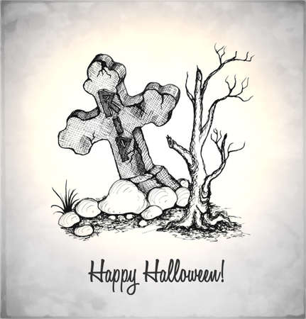 Tombstone in a sketch style. Hand-drawn card for Halloween. Vector illustration. Vector