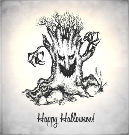 Scary tree. Monster in a sketch style. Hand-drawn card for Halloween. Vector illustration. Illustration