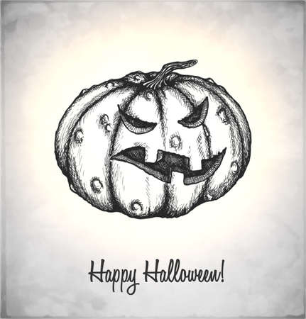 Scary Jack O Lantern. Pumpkin in a sketch style. Hand-drawn card for Halloween. Vector illustration.