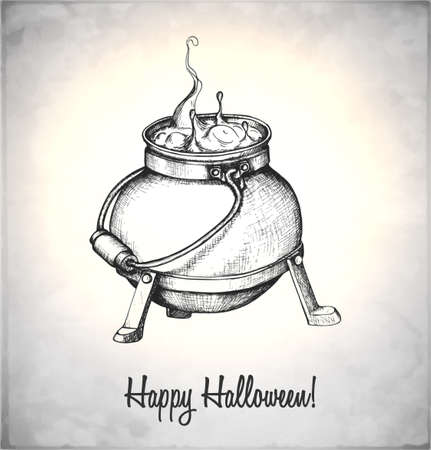magic potion: Boiler with potion in a sketch style. Hand-drawn card for Halloween. Vector illustration.