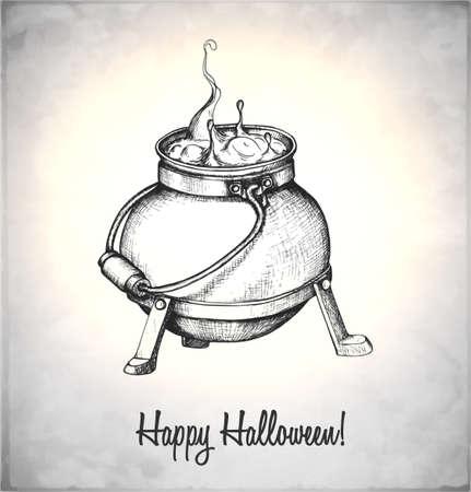 pocion: Caldera con la poción en un estilo de dibujo. Tarjeta de mano para Halloween. Ilustración del vector. Vectores