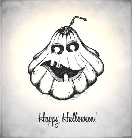Scary Jack O Lantern. Pumpkin in a sketch style. Hand-drawn card for Halloween. Vector illustration. Stock Vector - 22100222