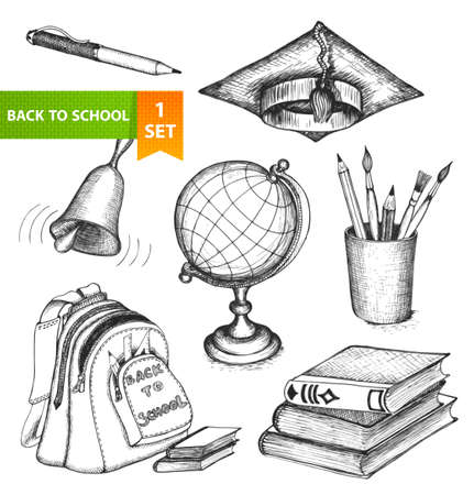 Set of sketch elements  Back to school  Hand-drawn vector illustration