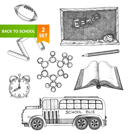 sketch book: Set of sketch elements  Back to school  Hand-drawn vector illustration