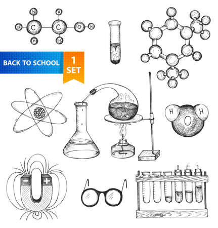 Science set  Sketch chemistry elements  Back to school  Hand-drawn vector illustration