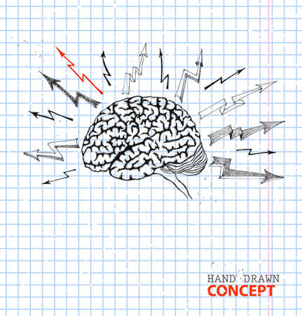 Sketch brain on sheet of paper  Hand-drawn vector illustration