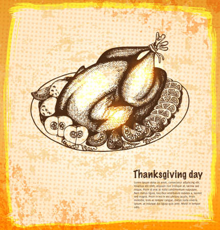 Roast turkey for holiday dinner in a sketch style illustration. Illustration