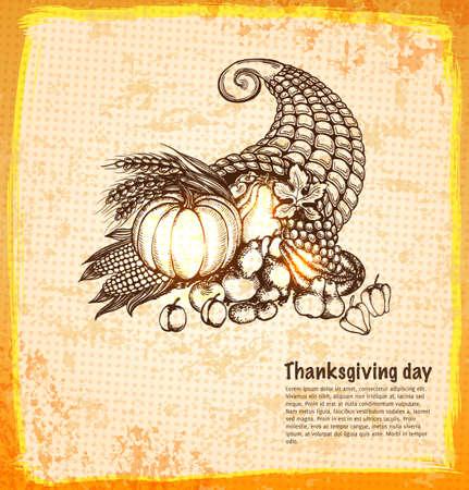 bocinas: Autumn cornucopia llena de frutas y verduras de cosecha en una ilustraci�n del estilo del bosquejo. Vectores