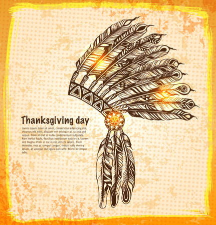 Native American indian headdress with feathers in a sketch style illustration. Vector