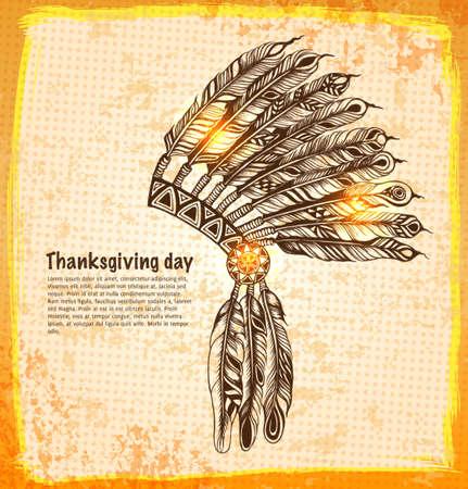 native indian: Nativo tocado indio americano con plumas en una ilustraci�n del estilo del bosquejo. Vectores