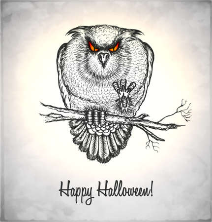Horror owl in a sketch style. Hand-drawn card for Halloween.  Vector
