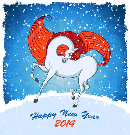Horse on christmas card. Blue background with symbol of 2014 New Year on landscape with snowfall.  Illustration