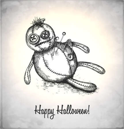 Spooky voodoo doll in a sketch style. Hand-drawn card for Halloween.