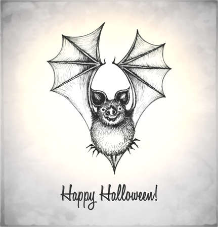 Scary bat in a sketch style. Hand-drawn card for Halloween.