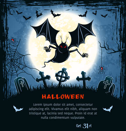 Spooky card for Halloween. Blue background with terrible vampire, full moon, bats and spiders.  Illustration