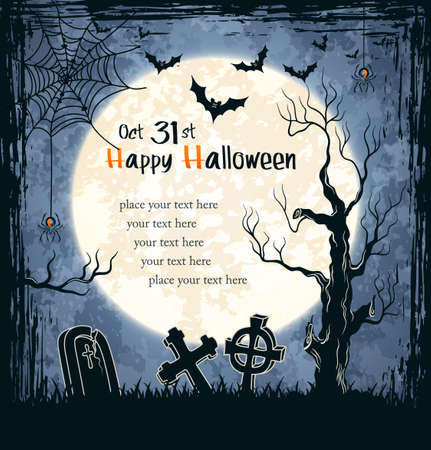 Spooky card for Halloween. Blue background with full moon, tombstones and bats.