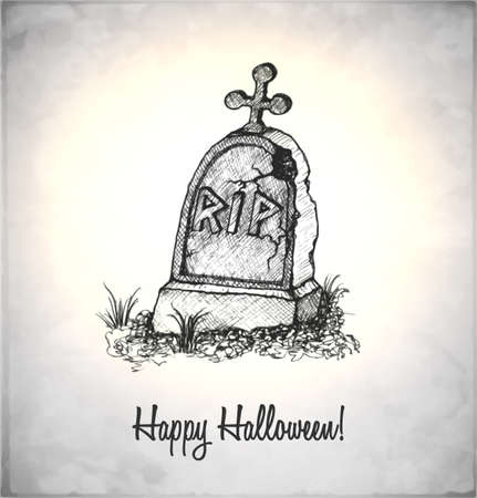 Tombstone in a sketch style. Hand-drawn card for Halloween.  Vector
