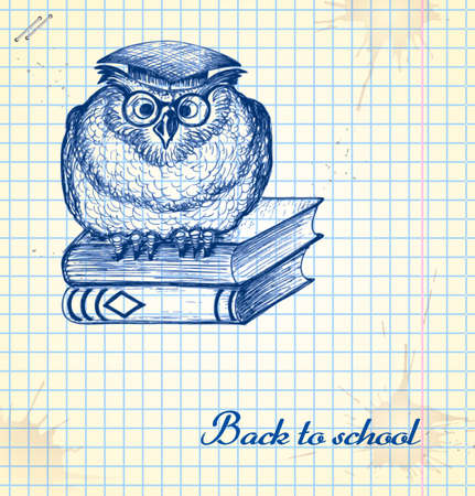 books library: Wise owl and books in a sketch style. Hand-drawn card for school. Illustration