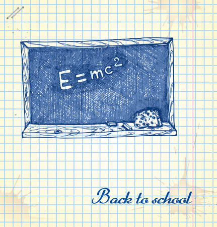 Blackboard in a sketch style. Hand-drawn card for school.  Vector