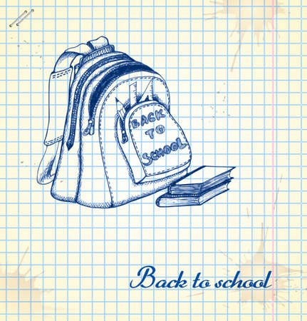 Backpack in a sketch style. Hand-drawn card for school.  Vector