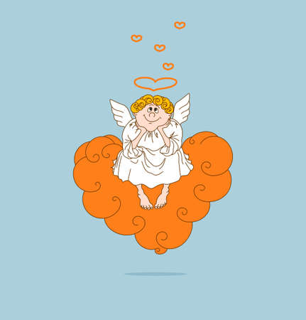 Dreamy angel in love sits on cloud in the form of heart. Valentines Day. Vector illustration.