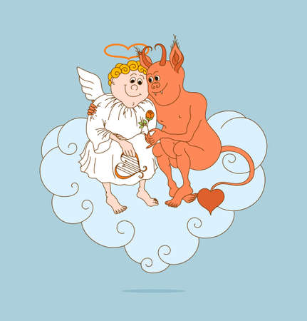 Soft angel and good-natured devil are friends. Greeting for Valentines Day. Vector illustration. Illustration
