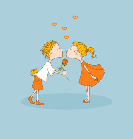 Boy kisses sweet girl, girl kisses cute boy. First kiss. Boy gives flower and gift. Greeting for Valentines Day. Vector illustration