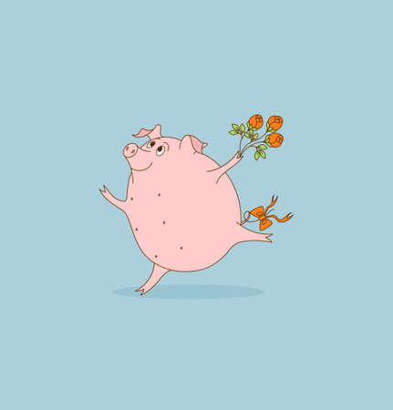 keeps: Charming pig is running. Its color is rose. Piglet keeps flowers in her hand. Valentines Day Illustration