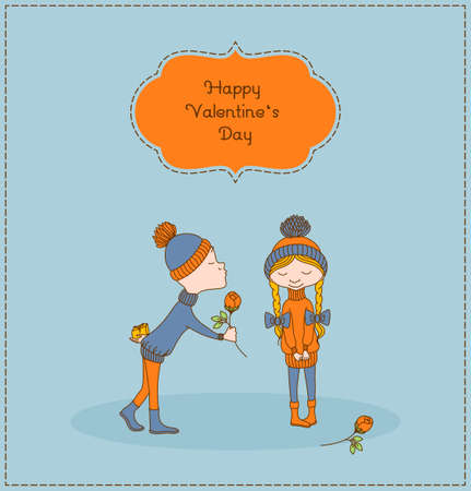 first day: Boy gives flower to a girl. Kid keeps behind his back a gift. First kiss. Girl is smiling. Greeting for Valentines Day. Vector illustration.