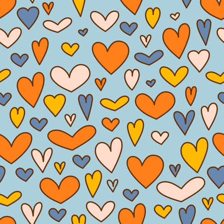 Holiday blue background with colorful hearts for Valentines day. Vector illustration Illustration