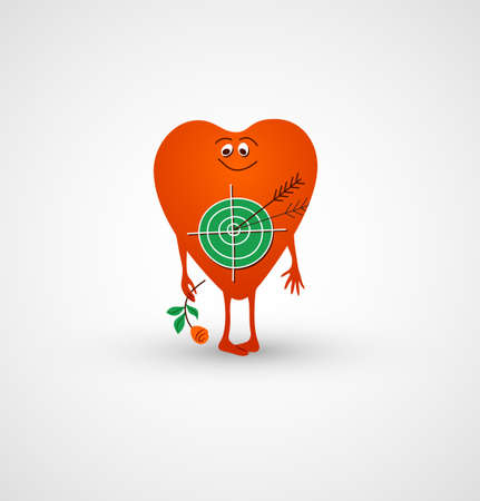 cartoony: Heart is love target for cupids arrow. Bright red cartoony heart takes in hand flower. Vector illustration.