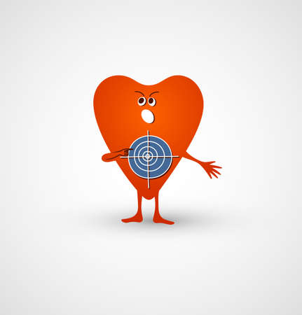 Angry heart is target for stings. Bright red cartoony heart offers to shoot to itself. Vector illustration.