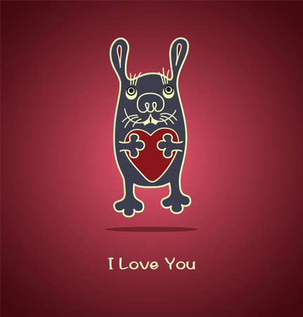 breast comic: Funny pleasant rabbit gives his heart. Valentines Day. Declaration of love. Vector illustration.