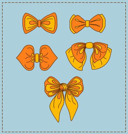 Set of cartoony bow-ties ties. Vector illustration