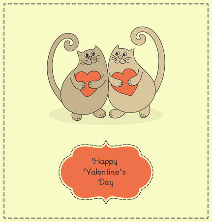 cartoony: Two cartoony cats in love. Cats hold hearts in their hands. Valentines Day. Vector illustration.  Illustration
