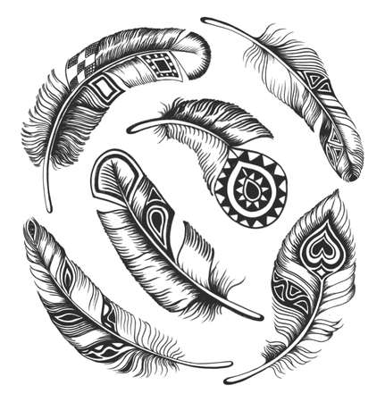 Black feathers in Indian style are arranged in a circle  Stock Photo