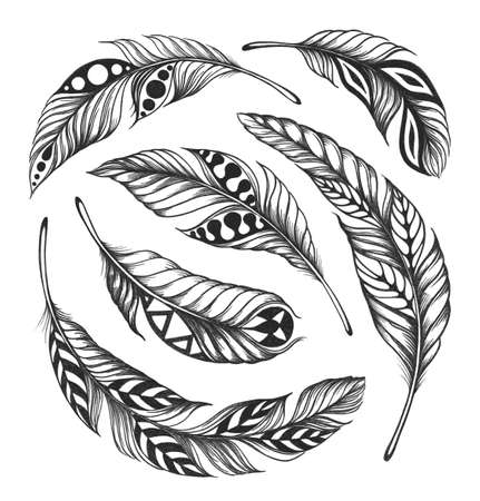 Black- on-white feathers in Indian style are arranged in a circle