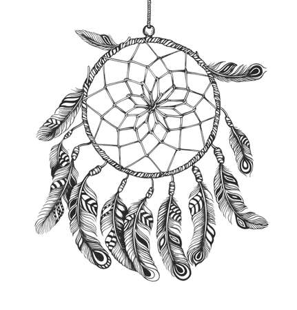 sioux: Shaman dreamcatcher  American Indian style   Stock Photo