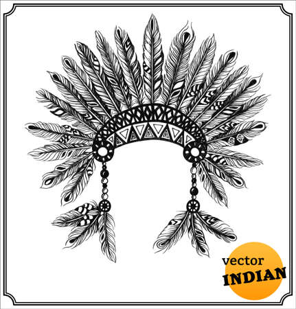 indian chief mascot: Native American Indian chieftain headdress