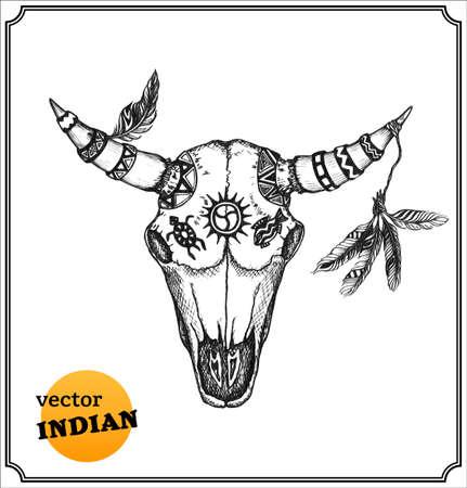 indio americano: Cráneo del búfalo con cuernos adornados por brujería shaman Foto de archivo