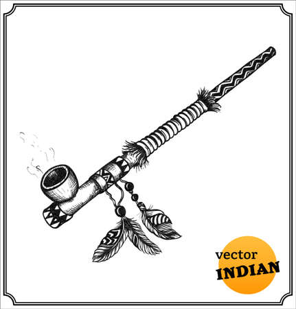 native indian: American Indians ornate tobacco pipe