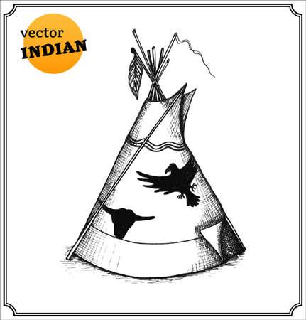 Indios tipi. Aislado en el fondo blanco. Foto de archivo - 26174951