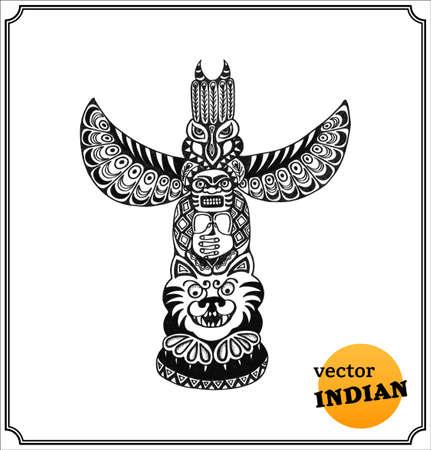 Indian Totem. Isolated on white background.