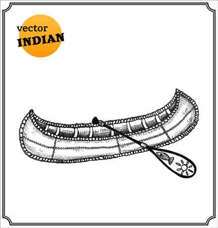 canoa: Indios canoa. Aislado en el fondo blanco.