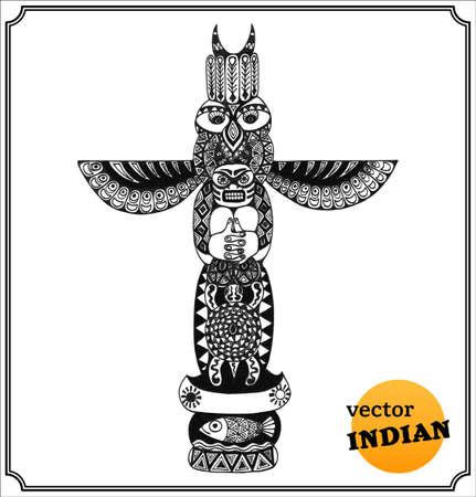 totem indiano: Totem indiano. Isolato su sfondo bianco. Vettoriali