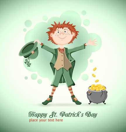 three leaved: Saint Patrick day  Funny leprechaun with lucky pot of gold coins on blue-green background